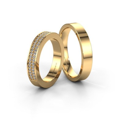 Foto van Trouwringen set WHR0284LM14AP ±4x2.3 mm 14 karaat goud diamant 0.007 crt