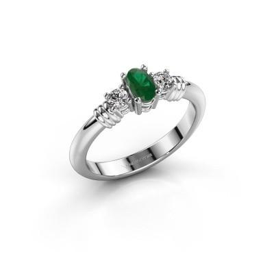 Foto van Promise ring Pippa 585 witgoud smaragd 5x4 mm