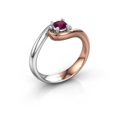Foto van Ring Linn 585 rosé goud rhodoliet 4 mm