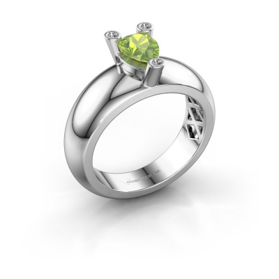 Ring Cornelia Pear 585 white gold peridot 7x5 mm