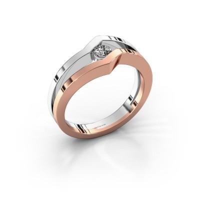 Bague Elize 585 or rose diamant synthétique 0.15 crt