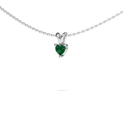 Foto van Ketting Garnet 375 witgoud smaragd 4 mm