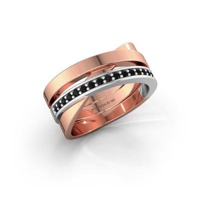 Ring Yolando 585 rosé goud zwarte diamant 0.192 crt