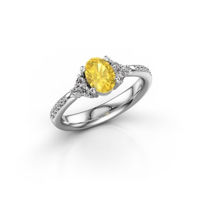 Picture of Engagement ring Aleida OVL 2 950 platinum yellow sapphire 7x5 mm