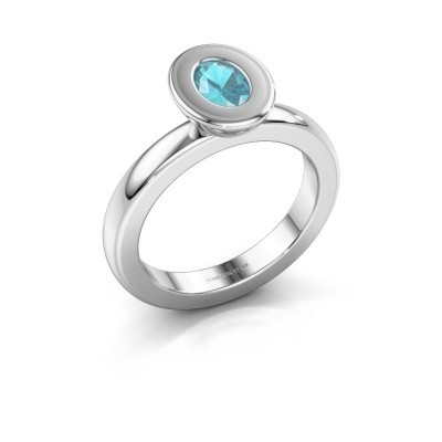 Stapelring Eloise Oval 950 platina blauw topaas 6x4 mm