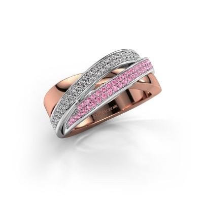Foto van Ring Myra 585 rosé goud roze saffier 1 mm