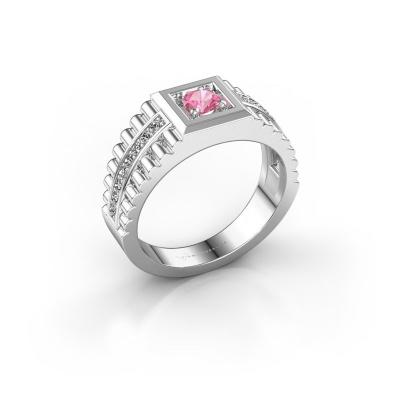 Men's ring Maikel 925 silver pink sapphire 4.2 mm