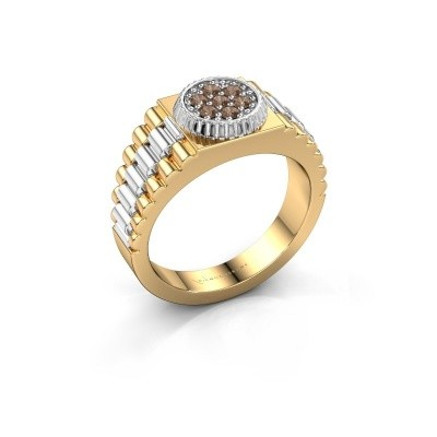 Picture of Men's ring Nout 585 gold brown diamond 0.21 crt