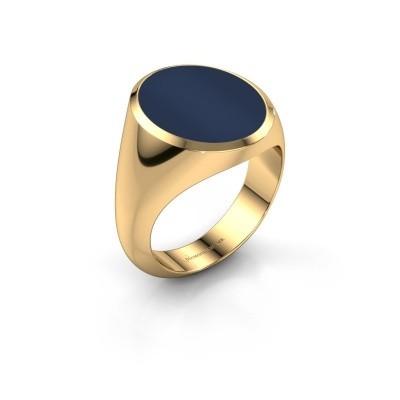 Foto van Zegelring Herman 6 585 goud donker blauw lagensteen 16x13 mm