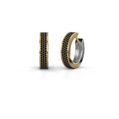 Creolen Renee 6 12 mm 585 goud zwarte diamant 1.344 crt