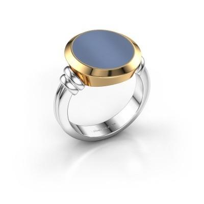 Zegelring Jake 4 585 witgoud licht blauwe lagensteen 15x13 mm