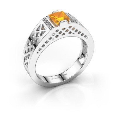 Foto van Heren ring Jonathan 375 witgoud citrien 5 mm