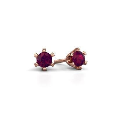 Oorstekers Shana 375 rosé goud rhodoliet 4 mm