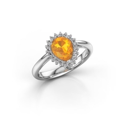Photo de Bague de fiançailles Chere 1 950 platine citrine 8x6 mm