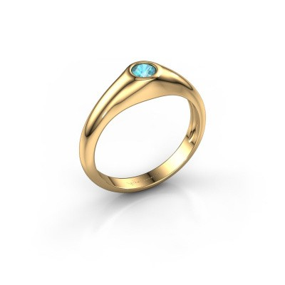 Foto van Pinkring Thorben 585 goud blauw topaas 4 mm