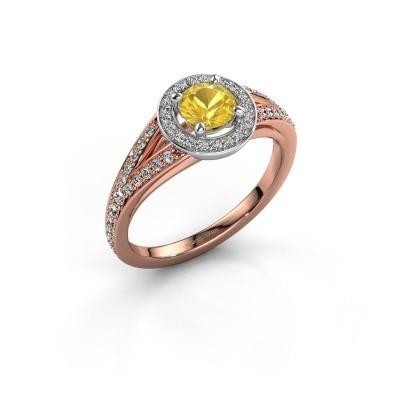 Aanzoeksring Angelita RND 585 rosé goud gele saffier 5 mm