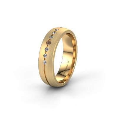 Trouwring WH0162L25A 585 goud bruine diamant ±5,5x1.7 mm