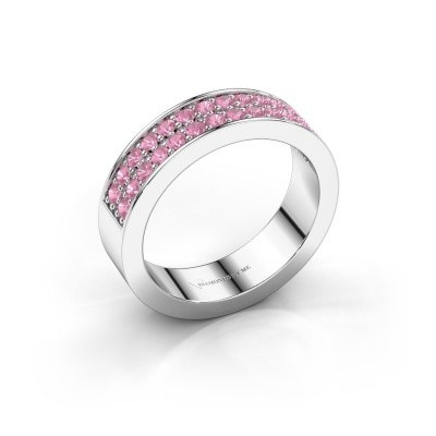 Stackable ring Catharina 6 585 white gold pink sapphire 1.7 mm