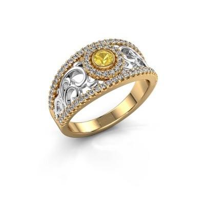 Verlovingsring Lavona 585 goud gele saffier 3.4 mm