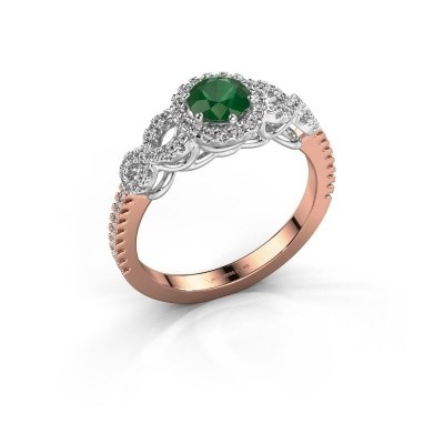 Engagement ring Sasja 585 rose gold emerald 5 mm