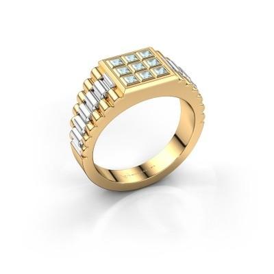 Foto van Heren ring Chavez 585 goud aquamarijn 2 mm
