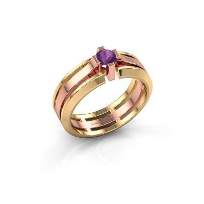 Heren ring Sem 585 rosé goud amethist 4.7 mm