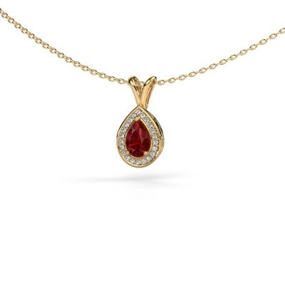 Collier Ginger 375 or jaune rubis 6x4 mm