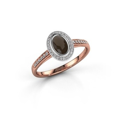 Engagement ring Noud 2 OVL 585 rose gold smokey quartz 6x4 mm
