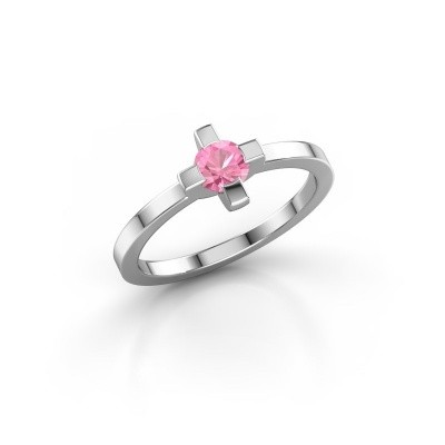 Ring Therese 925 zilver roze saffier 4.2 mm