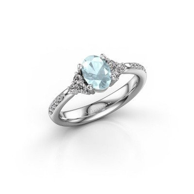 Picture of Engagement ring Aleida OVL 2 925 silver aquamarine 7x5 mm