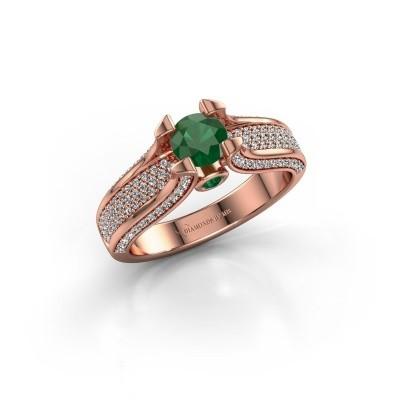 Foto van Verlovingsring Jeanne 2 375 rosé goud smaragd 5 mm