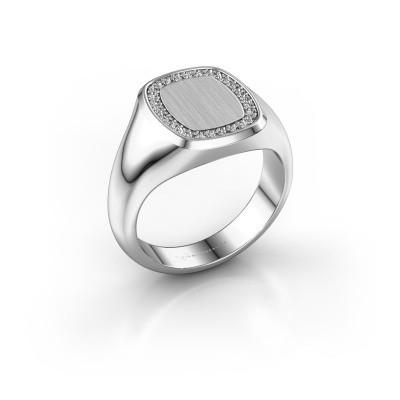 Men's ring Floris Cushion 2 375 white gold lab grown diamond 0.21 crt
