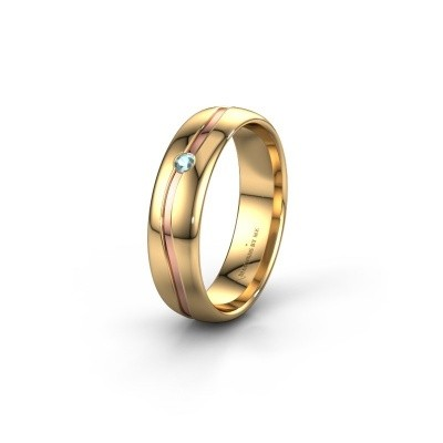 Trouwring WH0905L35X 585 goud aquamarijn ±5x1.7 mm