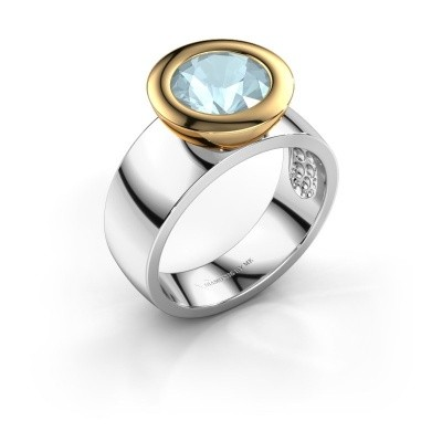 Ring Maxime 585 witgoud aquamarijn 8 mm