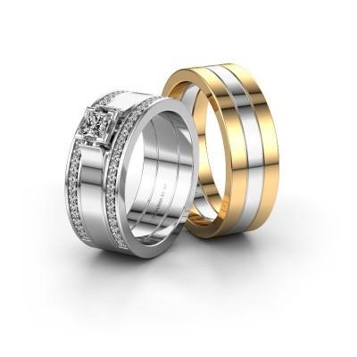 Bild von Eheringe set WH2121LM ±7x1.7 mm 14 Karat Weissgold Diamant 0.25 crt