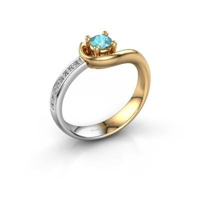 Foto van Ring Ceylin 585 goud blauw topaas 4 mm
