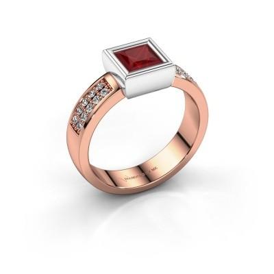 Foto van Ring Aimee 3 585 rosé goud robijn 5 mm