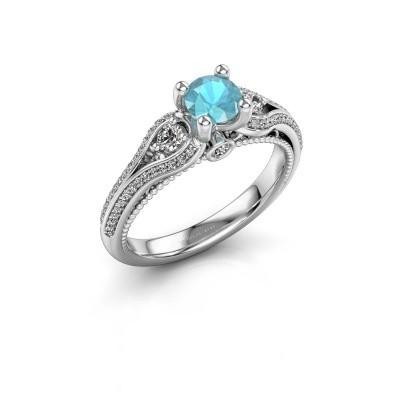 Verlovingsring Nikita 950 platina blauw topaas 5 mm