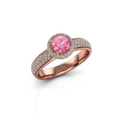 Engagement ring Mildred 375 rose gold pink sapphire 5 mm