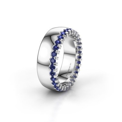 Wedding ring WH6120L27C 925 silver sapphire ±7x2.2 mm