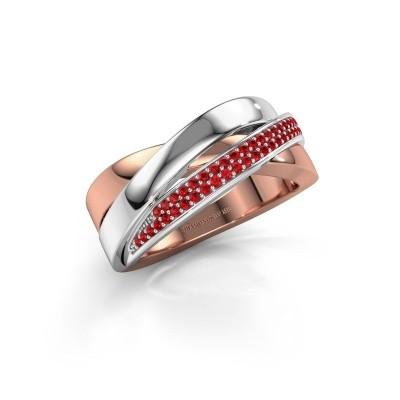 Foto van Ring Katherina 585 rosé goud robijn 1 mm