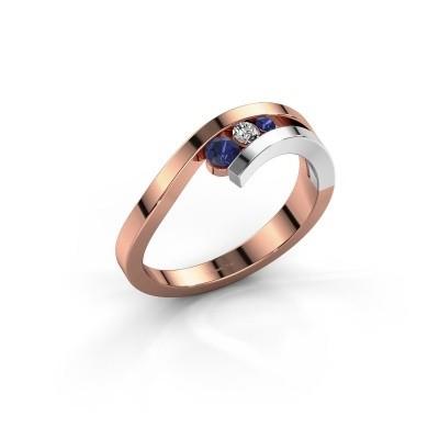 Ring Evalyn 2 585 rosé goud saffier 2.8 mm