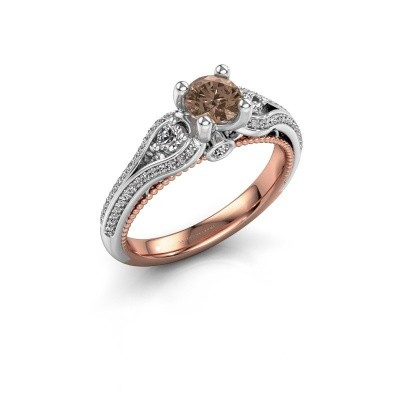 Foto van Verlovingsring Nikita 585 rosé goud bruine diamant 0.82 crt