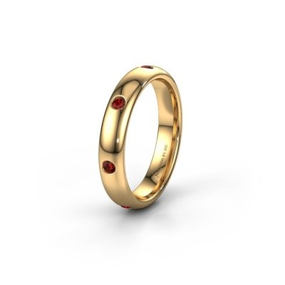 Wedding ring WH0105L34BP 375 gold garnet ±4x2 mm