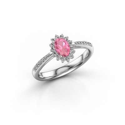 Foto van Verlovingsring Tilly 2 925 zilver roze saffier 6x4 mm