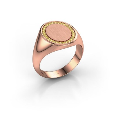 Men's ring Floris Oval 4 375 rose gold yellow sapphire 1.2 mm