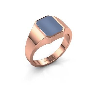 Zegelring Lars 1 F 375 rosé goud licht blauwe lagensteen 10x8 mm