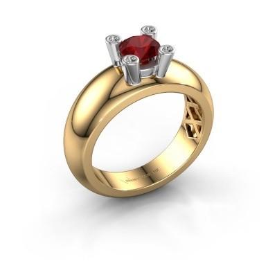 Ring Cornelia Round 585 gold ruby 5 mm