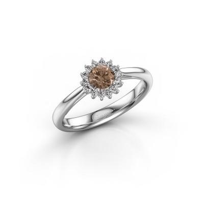 Verlovingsring Mariska 1 585 witgoud bruine diamant 0.30 crt