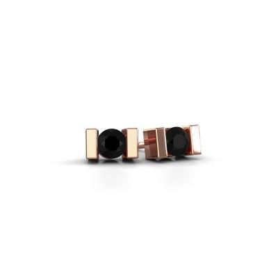 Oorstekers Lieve 375 rosé goud zwarte diamant 0.48 crt